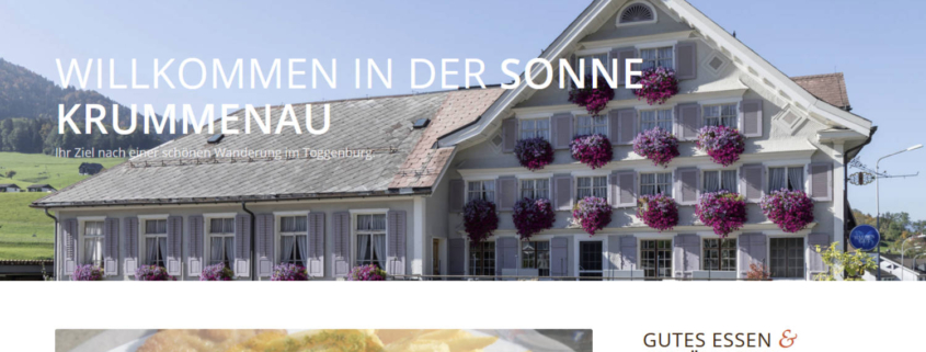 Screenshot Webseite Sonne Krummenau